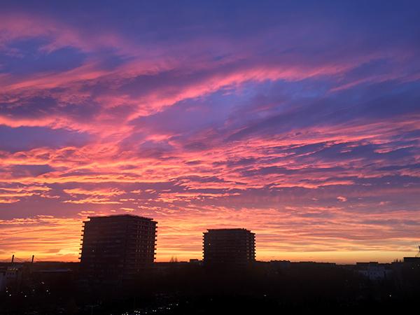 zonsondergang, winter, lucht, roze, uitzicht, westen