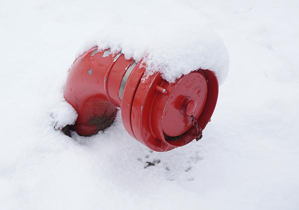 brandslang, aansluiting, sneeuw, rood, wit, detail, fotografie, close-up