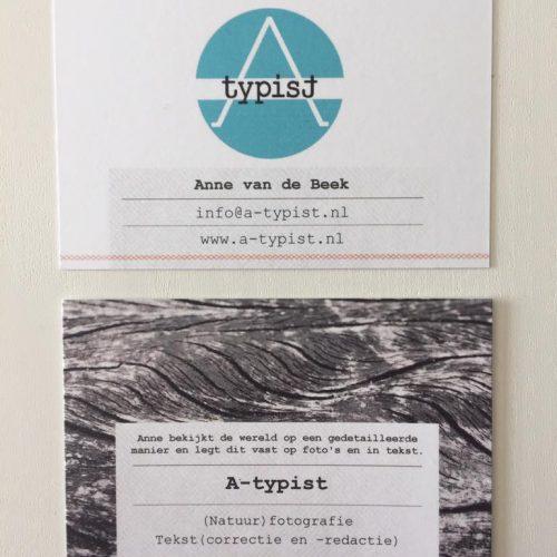 visitekaartjes, a-typist, natuurfotograaf, tekstschrijver, correctie