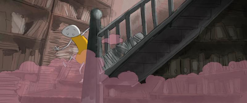 Hans de informatieverwerker rent de trap af in de bibliotheek in het hoofd van Chris