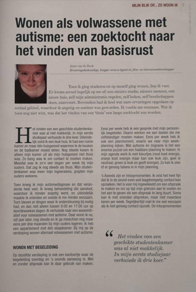 Eerste pagina van artikel over wonen met autisme in Sterk! In autisme.