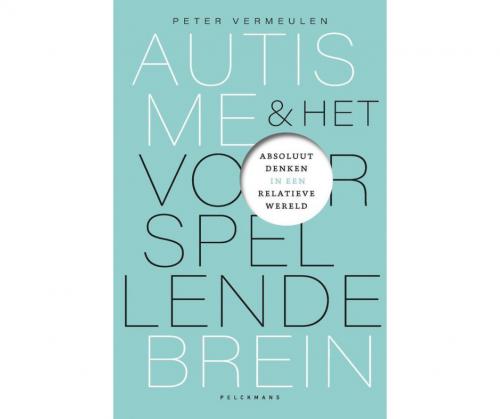 Voorkant van het boek Autisme en het voorspellende brein. De voorkant is lichtblauw en staat vol met letters.