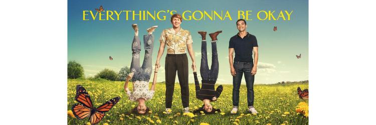 Plaatje met daarop de titel van de serie, Josh Thomas, Kayla Cromer en twee andere acteurs. Ze staan in een veld met bloemen.